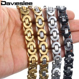 silver tone snake chain bracelet NZ - Mens Bracelet Gold Silver Tone Byzantine Stainless Steel Chains Bracelets for Men Fashion Jewelry Gift 6 8 11mm