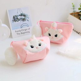$enCountryForm.capitalKeyWord Australia - Cute Cartoon Marie Cat Big Tail Canvas Plush Toy Bags Mobile Phone Bag Cion Purse wallet Cosmetic bag For Girls Children Gifts