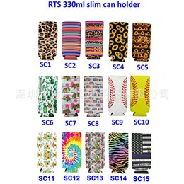 cool bottle openers NZ - Slim Can Sleeve Sunflower Neoprene Insulator Cooler Baseball Can Holder Water Bottle Covers Bottle Case Pouch Leopard Flower 15 Style M0114