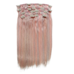 mixed blonde ombre hair extensions Australia - Blonde Color Clip in Hair Extensions Silky Straight Clip on Hair Bundles Brown Pink Colorful Hair Weaves Weft in Summer