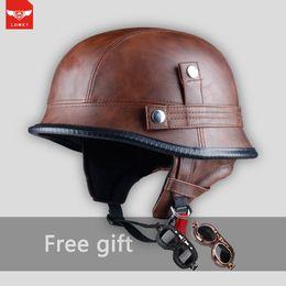 Vespa Helmet Half Face Australia - Retro vintage Open Face Half Leather Helmet Moto Motorcycle Helmets Motorcycle Motorbike Vespa harley cafe racer