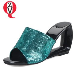 0c93d5ffd7d ZVQ brand sexy women slippers open toe shoes 2019 summer new style hollow  wedges high heels slides outside fashion slippers