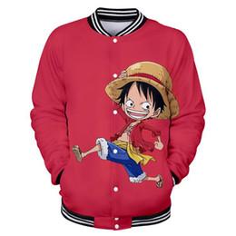 Anime white uniforms online shopping - Anime One Piece Luffy D Printed Baseball Uniform Men s Jacket Outwear Japanese Streetwear Harajuku Funny Hoodies Sweatshirt Men
