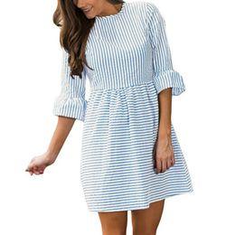448be13a81 2019 Spring Summer Girls Kawaii Striped Mini Dress Female Women Half Sleeve Cute  Dresses Sexy Plus Size