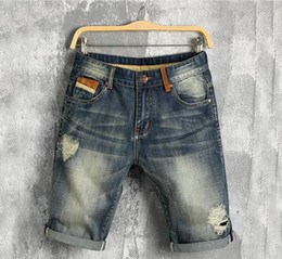 $enCountryForm.capitalKeyWord Australia - Vintage Mens Denim Shorts Fashion Scraatched Knee Length Jeans for Summer Street Style Slim Holes Jeans