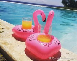 Coaster Cup Holder Australia - Free shipping Inflatable Flamingo Drinks Cup Holder Pool Floats Bar Coasters Floatation Devices Children Bath Toy