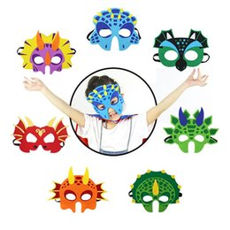 Wholesale 7Pcs Dinosaur Party Masks Cute Animal Decorative Party Accessories Favors Face Mask for Themed Party Masquerade Halloween Kids