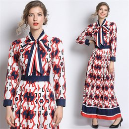 $enCountryForm.capitalKeyWord Australia - Women Vintage Runway Dress Floral Print Tie Neck Long Sleeve Empire Waist Long Dresses Ladies Casual Party A-Line Maxi Dress