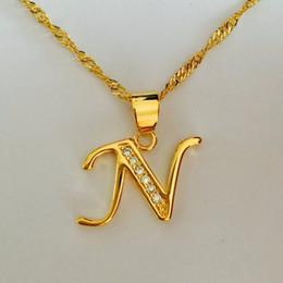 Alphabet Letter Pendants Australia - Luxury brand Letter N Gold Plated Necklace Women Men name charm Pendant & Necklace Crystal Fashion Alphabet Letter Necklace