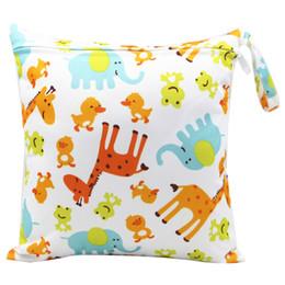 $enCountryForm.capitalKeyWord NZ - Baby Diaper Bag Reusable Waterproof Cartoon Print Wet Dry Diaper Bag Cloth Handle Wet Bags 30CM Waterproof Baby Care Mother