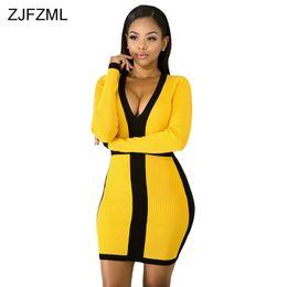 20edf80da4be7b 8 Fotos Frauen farbe block kleider im Angebot-Schwarz Gelb Gestreiften Sexy  Minikleid Frauen Mode Tiefem V