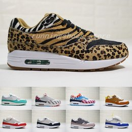 outlet store fa291 87a06 Nike Air Max 1 airmax 1 DLX ATMOS 1 87 Parra Sean wotherspoon Air Blue para  hombre Zapatos para correr Animal Pack 1s 87s Leopard Classic Athletic Mujer  ...