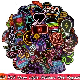 $enCountryForm.capitalKeyWord Australia - 50PCS Neon Light Sticker for Lage Laptop Decal Skateboard Stickers Child Colorful Billboard Toys Can not Glow in the dark