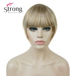 thin hair bangs Canada - Synthetic Hair Thin Neat Air Bangs Clip In Fringe Front Temple Bangs Hair Piece COLOUR CHOICES