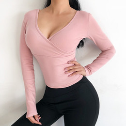 7dc17c01e6 Front or Backward Wear Yoga Top Women Long Sleeve Slim Strap Control Sport  Shirt Sexy V-neck Fitness Gym Running Activewear  311825