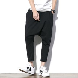 baggy mens sweat pants Canada - Cheap Harem Fashion Harem Men Cross- Baggy Loose Black Sweat Hip hop pantalon homme Casual Mens Trousers Joggers Pants Male