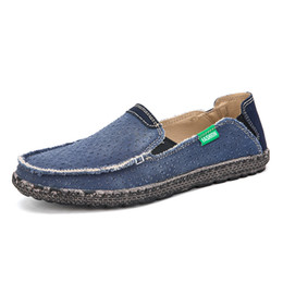 $enCountryForm.capitalKeyWord NZ - Men Fashion Breathable Flat Boat shoe Casual Shoes Canvas Slip-On Solid Shoes Handmade Light Non-slip Comfortable Shoes