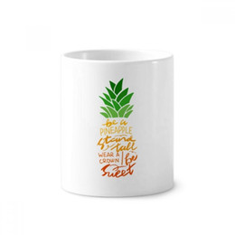 pineapple cups UK - Be a Pineapple Stand Tall Quote Toothbrush Pen Holder Mug White Ceramic Cup 12oz