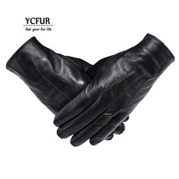 Men Gloves Leather Sheepskin Australia - YCFUR Genuine Leather Gloves Mittens Men Soft Warm Winter Gloves Men Whole Pieces Genuine Sheepskin Men's Male