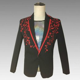 Discount stylist suit - Groom married groomsmen suit jacket 2019 new hair stylist embroidery banquet suit male