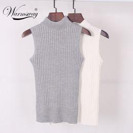 $enCountryForm.capitalKeyWord Australia - High Quality Summer Autumn Women Mock Neck Top Turtleneck Sleeveless T-shirt Slim Knitted Vest Female Tee Knitwear B-009 Y19051301