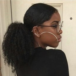 curly ponytails for black women Canada - Mongolian Virgin Hair Kinky Curly Ponytail Human Hair Drawstring Ponytail Afro KINKY CULRY Hair Clip in Ponytail Extension For Black Women