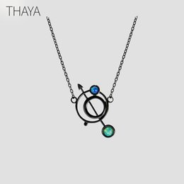 Necklaces Pendants Australia - Thaya Original Design Astrograph S925 Silver Opal Pendant Necklace Black Clavicle Chain Necklace For Women Gift Simple Jewelry Y19051603