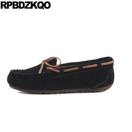Peach Women Shoes NZ - Bow Large Size China Wide Fit Shoes Ladies Suede 10 Round Toe Boat Flats Retro Loafers Candy Latest Peach Women Black Moccasins