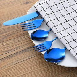 stainless china forks NZ - 20-Pieces Blue Stainless Steel Flatware Silverware Set, Service For 4, Mirror Polished, Include Knife Fork Spoon, Dishwasher S