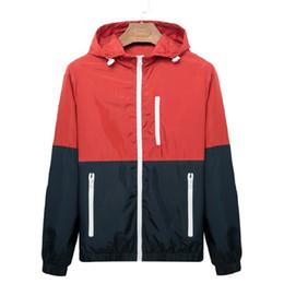 $enCountryForm.capitalKeyWord UK - Hooded Contrast Zipper Windbreaker Men Casual Spring Autumn Lightweight Jacket 2019 New Arrival Color Zipper up Jackets Outwear Cheap