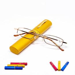 82b8c6acce23 Unisex Reading Presbyopic Glasses With Random Color Metal Tube Case Glass  Men Women Eyewear Portable Comfortable 3 7wm D1