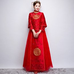 Ethnic Chinese Costume UK - New Chinese style vintage bride cheongsam dress Tang suit costume Chinese ancient traditional vestido red married ethnic clothing