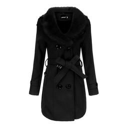 Wholesale woolen coats resale online - Fashion women s woolen coat winter long female windbreaker villus lapel neck collar women s coat
