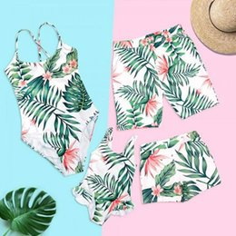 Wholesale Family Matching Swimwear Tropical Leaf Beachwear Father Mother and Children Swimsuit Swimming Trunks Family Set ZC001