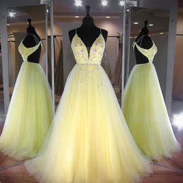 $enCountryForm.capitalKeyWord NZ - Yellow Quinceanera Dresses Sweet 15 Ball Gown Lace Tulle Beads Sequins Spaghetti Straps Backless Debutante Gowns Vestidos De 15
