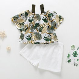 leaf tutu Canada - kids designer clothes girls Fashion Summer Clothes Two Piece Sets Green Leaf Shirt +short clothes sets brand girl Lolita clothing sets