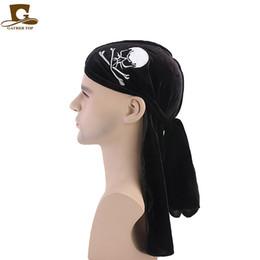 Doing hair online shopping - 2019 Unisex New skull cap velvet durag du rag do rag Men and Women Breathable Bandana Pirate Hat Long tail Headwrap Hair Accessories
