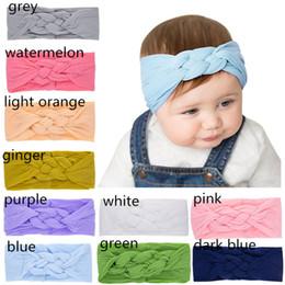$enCountryForm.capitalKeyWord Australia - 10 Colors Nylon Braids headband Baby Girls cute solid color hearwear 2019 new fashion cable pattern head accessories ins hot children's day