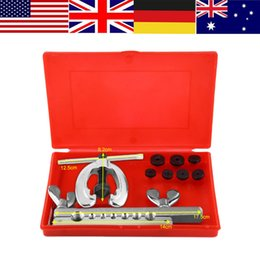 flaring kit Australia - WALFRONT 9pcs Set Flare Tool Kit Automotive Flanging Flaring Bracket Repair Tube Tools Pipe Clamp Double Spreader Dies Flare Kit