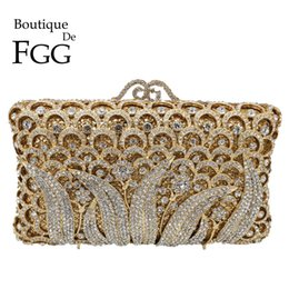 c6720e7d3 Boutique De FGG Mujeres Elegantes Flor de Embrague de Cristal Bolsos de  Noche Minaudiere de Metal de Diamante Bolsos Banquete de Boda Cena Monederos