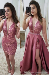 $enCountryForm.capitalKeyWord Australia - Sexy Dusty Rose Detachable Train Prom Evening Dress Formal Gowns Deep V neck Lace Sequins Ruched Satin Long Pageant Celebrity Dress