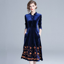 Ladies Velvet Australia - New Style Fashion Glitter Embroidery Floral Dress Ladies Stand Collar Long Sleeves Casual Slim Autumn Velvet Dresses A-Line Blue
