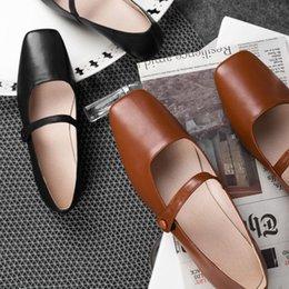 $enCountryForm.capitalKeyWord NZ - 3 Color plus size 41 women's genuine leather mary jane flats sqaure toe soft comfortable ballerinas leisure espadrilles shoes as098