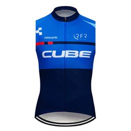 men s sleeveless cycling jersey UK - New CUBE Team Men Cycling Jersey 2019 Summer Breathable MTB Bike Sleeveless Shirt Road bicycle Vest Outdoor Sportswear Y061801