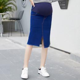 b57264ebeed3a Maternity Bag Hip Skirt Stretch Denim Stitching Stomach Solid Color Split  Mid-length Skirt Maternity Designer Skirt 48