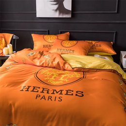 $enCountryForm.capitalKeyWord NZ - AB Side Different Materials Bedding Sets Queen Size Orange Cotton Bed Cover Suit Print Letter Spring Summer Bedding