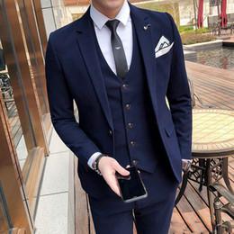 fitted piece dresses 2019 - Fashion men's suit slim fit solid color suit three-piece suit (blazer+ pants + vest) wedding groom groomsmen dress
