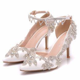 $enCountryForm.capitalKeyWord Australia - Crystal Queen Shoes Women Fashion Wedding Pumps Sweet White Flower Tassels Crystal Pointed Toe High-heeled Wedding Shoes Sandals
