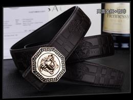 2018-piel de vaca cinturones de cuero genuino para hombres marca macho hebilla vaqueros vaquero Mens Belt Lujo diseñador de alta calidad cinturón de cuero hombres # 111123