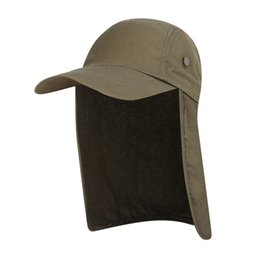 sun protection flap hat 2019 - New Drop shipping Women Men Fishing Hat Sun Visor Cap Hat UPF 50 Sun Protection Removable Ear Neck Flap Cover for Hiking